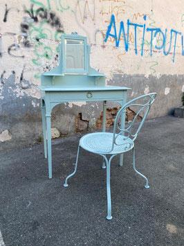 antiker Schminktisch mit Stuhl restauriert pastellblaugrau Nr 2507