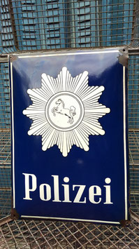 Sehr schöne altes Polizei Emailleschild gewölbt