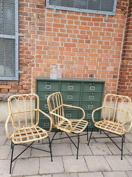 3er Set alte Rattansessel Bambusmöbel aus den 60er Jahren Nr 0810