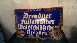 Altes Emailleschild Dresdener Kulmbacher Waldschlößchen Dresden
