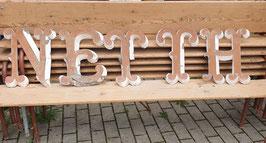 sehr alte Zinkblech Buchstaben braun-weiß Nr 0309-03