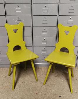 1 Paar Brettstühle Eiche sehr alt grün Nr 0710
