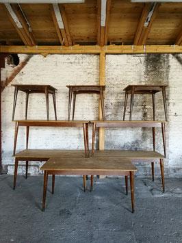 alte antike Tische Holztische Esstische mit Messingfüßen - sehr edel 160x80