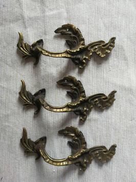 3er Set alte antike Möbelbeschläge Griff Jugendstil Messing Nr 0212-05