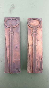 2er Set alte Stempel aus Holz/Kupfer Schüssel Nr 2