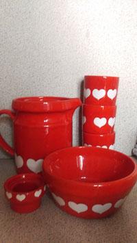 70er Jahre Milchkanne und 3 Becher, Schale und Teelichthalter