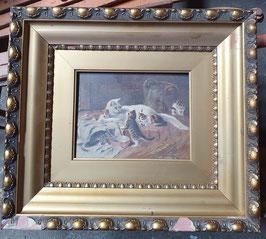 kleines Gemälde mit Katzen Katzenbild im Rahmen Nr 0207