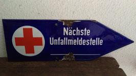 antikes Emaille Schild Rotkreuz Nächste Unfallmeldestelle