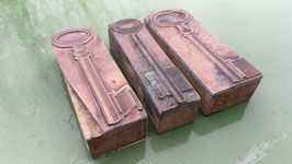 3er Set alte Stempel aus Holz/Kupfer Schüssel Nr 7