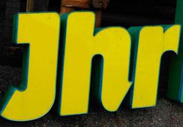 Vintage Leuchtbuchstaben gelb-grün  Nr 0711rest