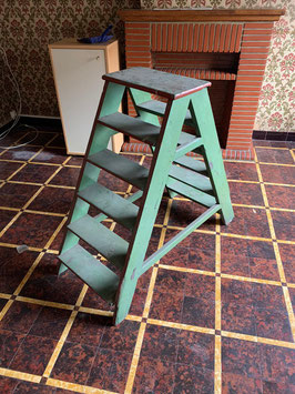 hübsche alte Leiter Tritt Vintage türkis 0601
