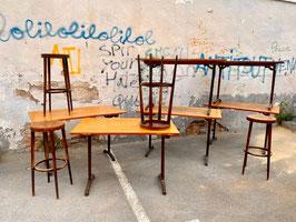 antiker Schultisch als Bistrotisch Schreibtisch Esstisch Buche 110 - 120 cm Nr 2505-02