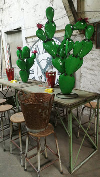 2er Set große Deko Kakteen Kaktus aus Metall - Handarbeit