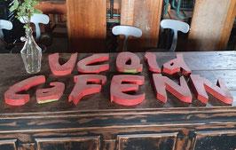 alte Werbebuchstaben aus Zinkblech rot Nr 1005