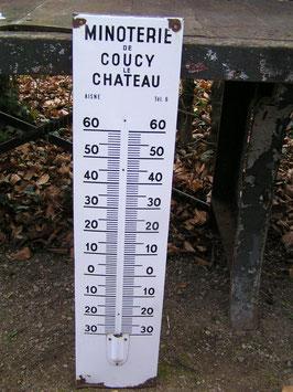 antikes Emailleschild für Thermometer 95 cm