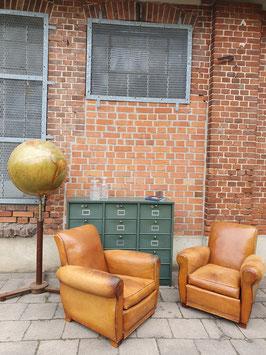 1 Paar alte antike Ledersessel Clubsessel Nr 0910
