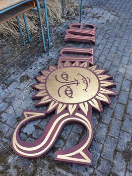 """alte Buchstaben Schriftzug """"Sonne"""" 250 cm lang"""