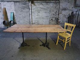 großer Tisch Esstisch Bistrofüße mit antiker Platte Nr 2801-03