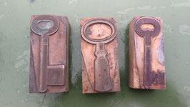 3er Set alte Stempel aus Holz/Kupfer Schüssel Nr 10 klein