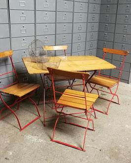 alte Biergartenmöbel Garnitur 1 Tisch 4 Stühle Nr 0810 Jugendstil