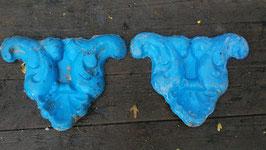 1 Paar alte Fiberglas Giesform wie Stuck blau Nr 2910-06