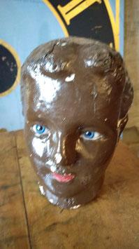antiker Puppenkopf aus Pappmachée mit Glasaugen