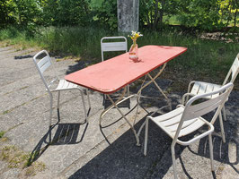 großer antiker Gartentisch aus Metall Klapptisch 140 cm lang Nr 2305-05