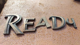 """alte kleine Metallbuchstaben  """"Ready"""""""