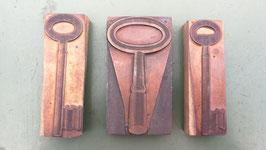 3er Set alte Stempel aus Holz/Kupfer Schüssel Nr 1