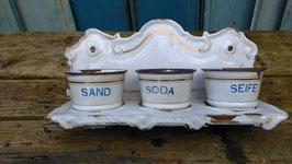 antikes Waschset Emaille Sand Soda Seife