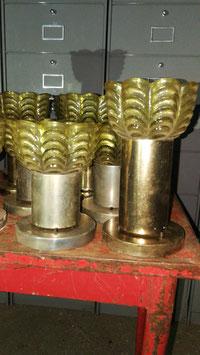 Tolle Blumenlampen Deckenlampen Messing mit Pressglas Nr 1311