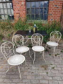 4er Set antike, schwere Gartenstühle aus Frankreich Nr 1606-01