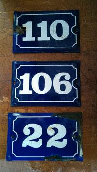 alte Emaille Hausnummer 106, 22, 110 zur Auswahl