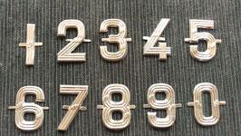 Set 0 - 9 Zahleln Nummern Hausnummern Blech 3,5 cm silberfarbend