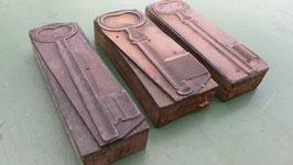 3er Set alte Stempel aus Holz/Kupfer Schüssel Nr 4