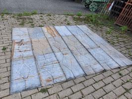 ca 14,5 qm alte Blechschindeln Blechplatten mit Muster und Rostpatina Nr 0209