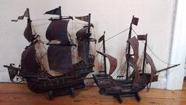 2er Set altes antikes Schiff Segelschiff um 1900