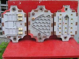 3er Set alte Giesformen für Eisenteile