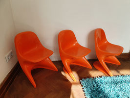 3er Set original Casalino Stühle von 1977 orange Kinderstühle