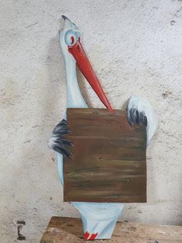 Storch aus Holz Tafel Unikat Nr 0807rma