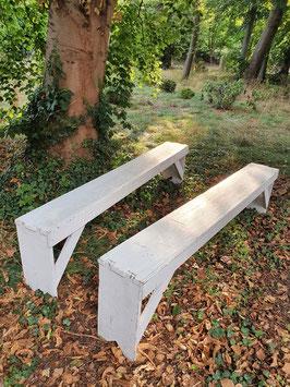 alte Gartenbank Holzbank ohne Lehne 0510