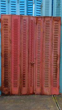 1 Paar antike Fensterläden Metall rot 2907-01