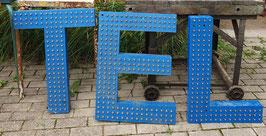 alte Vintage Leuchtbuchstaben mit vielen Glühlämpchen blau Nr 0901-02