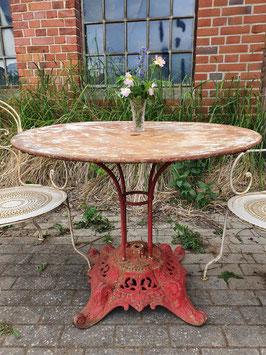 Antiker Gartentisch aus Frankreich rot Nr 1306-02