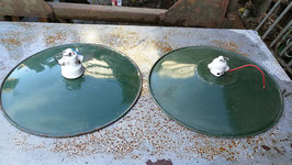 2er Set alte Emaillelampen in grün  Nr 1611-35
