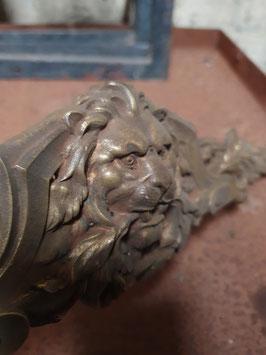 großer Möbelbeschlag Messing Löwenkopf 40 cm!