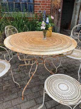 Antiker Gartentisch aus Frankreich creme Lochblech Nr 1306-03