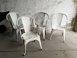 4er Set alter Tolix Stuhl Sessel seltenes Modell weiß Nr 1110
