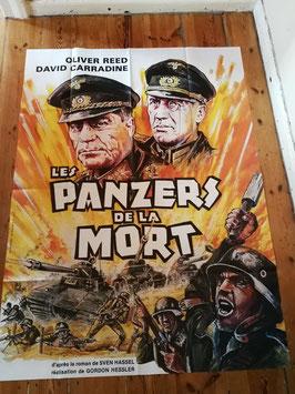 "altes Kinoplakat Filmposter XXL 160 x 120 cm ""Panzers de la Mort"""