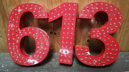 alte Nummern Zahlen Hausnummer vom Jahrmarkt rot